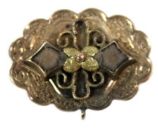 Victorian Bar Pin  Brooch Watch Holder 14kt Yellow and Rose Gold