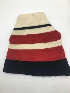 Meister Knit 100% Wool Hat Ski Beanie Stocking Cap Red White Black Snowboard