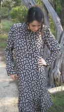 Vintage 80s Pierre Cardin Silk Taupe Black Puzzle Print Drp Waisted Dress sz 14