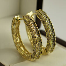 Yellow Gold Filled Clear CZ Cubic Zirconia 30mm Hoop Earrings UK Seller 62