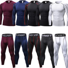 Men's Compression Pants Workout Baselayers Running Tights Tops Moisture Wicking
