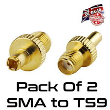 Pack of 2 TS9 Male Plug To SMA Female RF Connector Adapter Gold *UK Seller*