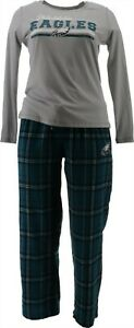 NFL Women's Pajama Set Long Slv Top Flannel Pants Eagles XXL # A387687