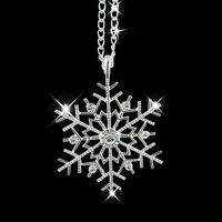 Charm Vintage lady Crystal Snowflake Frozen Flower Silver Necklace Pendant Chain