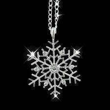 Frozen Snowflake Winter Bridesmaid Bridal Wedding Clear Crystal Necklace Pendant