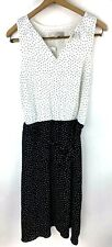 Ann Taylor Loft Womens Sheath Dress Size 8T 8 Tall Black White Polka Dot
