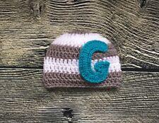 Newborn Baby Monogram Striped Letter G Hat Crochet Photo Prop Personalized Cap