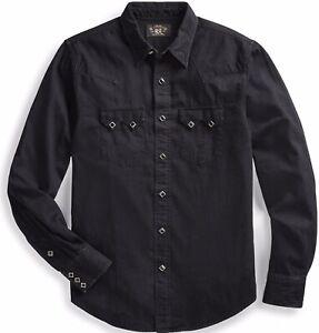 RRL Ralph Lauren Japanese Cotton Denim Western Shirt Snap Diamond -MEN- XS