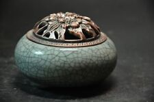 Chinese ceramic crackle porcelain Incense burner bronze Chrysanthemum lid