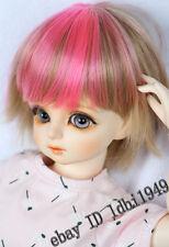 """1/3 8-9"""" BJD Dollfie Doll Wig Pullip LUTS SD Blythe Short BJD Wig Pink +Brown"""