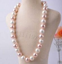 14MM rosa weiße Südsee Shell PerlenHalskette 58cm