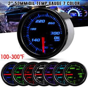 """2"""" 52mm Car Truck Oil Temp Gauge Temperature ℉ Meter 1/8 NPT Sensor 7 Color 12V"""