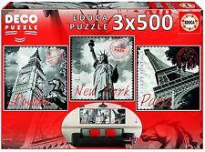 Educa 17096 - Pack 3 puzzles de 500 piezas- Grandes Ciudades - Deco Puzzle