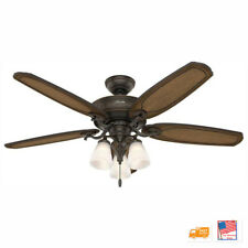 🔥🆕Hunter Osbourne 54 in. LED Indoor Onyx Bengal Ceiling Fan✅
