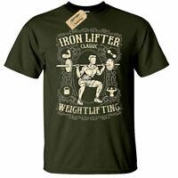 Iron Lifter T-Shirt Mens gym training weight power workout top
