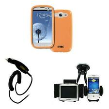 Orange TPU Case Cover Phone&GPS Mount Car Charger for Samsung Galaxy S III S3
