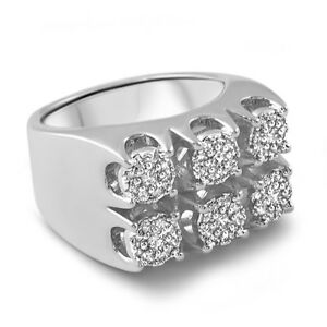 Platinum Silver Finish Large Cluster Iced Out Ring for Men