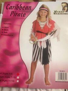 CARIBBEAN PIRATE KIDS GIRL PARTY COSTUME FANCY DRESS HALLOWEEN BOOK WEEK SCHOOL