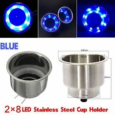 2x 8LED Blue Stainless Steel Cup Drink Holder Marine Boat Car Truck Camper Sea