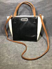 Nine west black and ivory ladies Tote Handbag Purse w/Brown straps