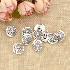 10 Pcs Round Life Tree Carved Shank Buttons Antique Silver Coat Sewing Crafts