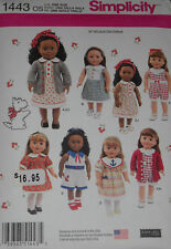 "Dress Romper Cardigan Playsuit 18"" Doll Clothes Simplicity 1443 Sewing Pattern"