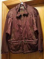 Vintage East West Brown Silk Long Sleeve Full-Zip Jacket size M