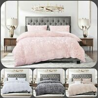 New Soft Teddy Fleece Duvet Quilt Cover Bedding Set with 2 pillow case all sizes