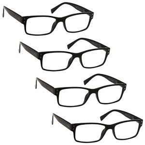 4 Packs Mens Large Designer Style Reading Glasses Spring Hinges UV Reader RRRR11
