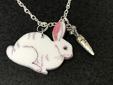 "Rabbit White Enamel with Carrot Charm Tibetan Silver 18"" Necklace D134"