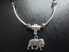 Tibetan Silver Indian Elephant Ethnic Necklace   18 in Leather