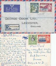 R788 Jamaica TEN QE2 diff covers postcards reg underpaid etc UK USA; 1953 - 1961
