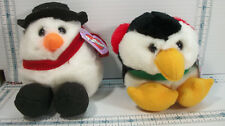 2 Winter Christmas Puffkins Chilly Penquin & Flurry Snowman With Tags