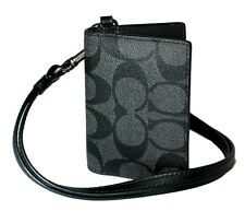 Coach Men's Signature Lanyard ID Holder Credit Case Charcoal Black F36139 $98
