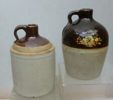 TWO SMALL POTTERY JUGS-Two Tone Glaze-Pint Size-1 Macomb-1910-1920s