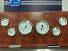Faria Stainless White Inboard 6 Gauge Set Fuel, Oil, Temp Tachometer Speedometer