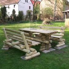 HOQ Sitzgruppe Gartenmöbel Gartenbank aus Kiefer Biergarten  Tisch 2 Bank Lehne