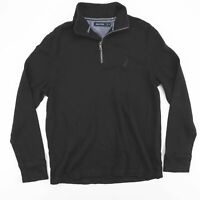 NAUTICA Black 1/4 Zip Casual Pullover Cotton Long Sleeve Jumper Size Mens Medium