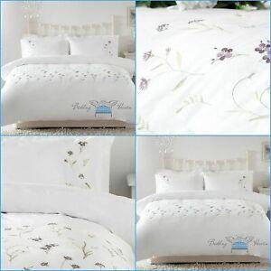 Bedding Heaven® Floral Embroidered IMOGEN Mauve Duvet Cover Set - Pure Cotton
