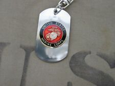 US Marines Insignia Dog Tag Key Ring Chain Porte Clés Army USMC Marine wk2
