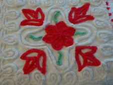 White and Red Vintage Chenille Bedspread Piece / Remnant