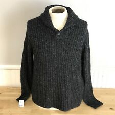 Vtg Polo Ralph Lauren Sweater Shawl Pullover Heather Gray Button Alpaca Wool XL