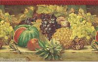 Tuscan Tuscany Kitchen Fruit Watermelon Pineapple Grape Crackle Wallpaper Border