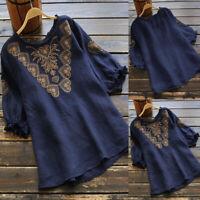 ZANZEA Women Spring Summer Embroidered Top Tee Shirt Ruffle Frill Floral Blouse