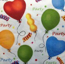 4 x Paper Napkins Balloons Birthday  Decoupage  Craft 4xx