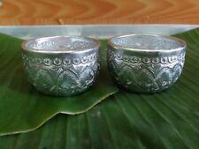 2xSmall Aluminium Silver Water Bowl Thai Tradition Vintage Thai Antique 5 cm