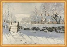 The Magpie Claude Monet Elster Vogel Winterlandschaft Schnee Zaun B A2 01233