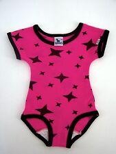 RODEO Mädchen Gymnastikanzug Trikot Turnanzug pink mit schw. Sternen Größe 122