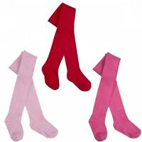 New Baby Girls Cotton Tights Pink , Red & Cerise Pink Newborn to 24 month