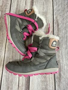 Sorel Whitney Girls Size 1 Faux Fur Pink Lace Gray Waterproof Snow Boots Shoes